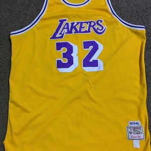 magic johnson authenic lakers jersey